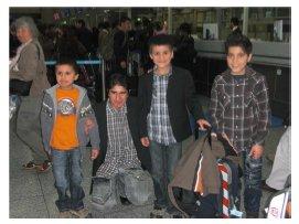 Die Vier vor ihrem Ablug nach Kabul